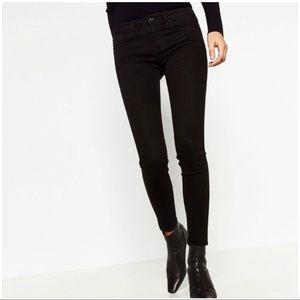 Zara Black High Waist Leggings with Floral Print